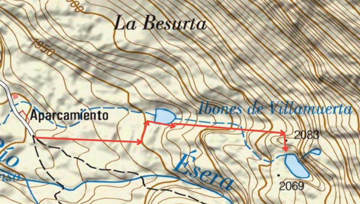 Mapa de La Besurta a los Ibones de Villamuerta